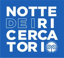 White writing Notte dei Ricercatori and Uninsubria Logo on a blue background