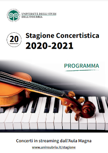 Writing Stagione concertistica 2020-2021, piano keyboard and a violin
